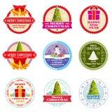 Etiquetas, bandeiras e etiquetas do vetor do presente do Natal do vintage com elementos tipográficos ilustração stock