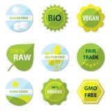 Etiquetas bio y sanas de la comida Imagenes de archivo