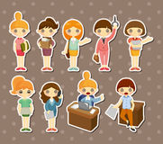 Etiquetas bonitas do trabalhador de mulher do escritório dos desenhos animados Fotografia de Stock Royalty Free