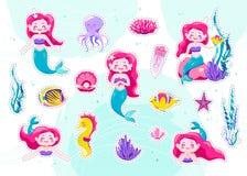 Etiquetas bonitos da sereia, remendo pequeno da princesa dos desenhos animados Ilustração do vetor Projeto de caráter do mar do d ilustração stock