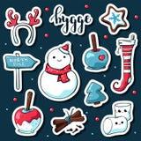 Etiquetas bonitos do hygge da garatuja Etiquetas tiradas mão do vetor com rotulação do hygge e coisas acolhedores boneco de neve, ilustração stock
