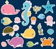 Etiquetas bonitos dos animais de mar do vetor Imagens de Stock Royalty Free