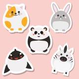 Etiquetas bonitos dos animais do kawaii ajustadas Ilustração do vetor Gato, panda, coelho, baleia ilustração royalty free