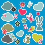 Etiquetas bonitos dos animais dos desenhos animados Imagens de Stock Royalty Free