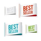Etiquetas brancas do bestseller com sombra Foto de Stock Royalty Free