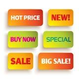 Etiquetas brilhantes da compra Imagens de Stock Royalty Free