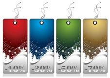 Etiquetas brillantes de las ventas del invierno ilustración del vector