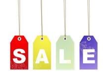 Etiquetas colgantes de la carta de la venta con el camino de recortes Fotografía de archivo libre de regalías