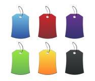 Etiquetas coloreadas - 3 - en blanco Foto de archivo libre de regalías