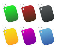 Etiquetas coloreadas - 5 - en blanco Fotografía de archivo