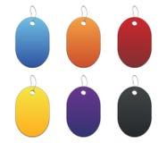 Etiquetas coloreadas - 6 - en blanco Imágenes de archivo libres de regalías