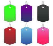 Etiquetas coloreadas - 9 - en blanco Fotos de archivo libres de regalías