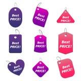 Etiquetas coloreadas - el mejor precio Imagen de archivo libre de regalías