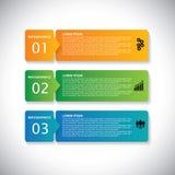 Etiquetas coloridas com sequência das etapas - infographic ilustração do vetor