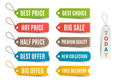 Etiquetas coloridas con oferta y los precios Ilustración del vector Fotografía de archivo libre de regalías