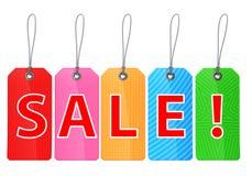 Etiquetas coloridas da compra impressas com venda do `! texto do `. Foto de Stock