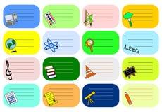 Etiquetas coloridas da escola Fotografia de Stock
