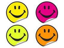 Etiquetas coloridas da face do smiley Foto de Stock Royalty Free