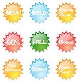 Etiquetas coloridas da loja Imagem de Stock