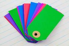 Etiquetas coloridas de la cartulina Imagen de archivo libre de regalías