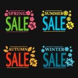 Etiquetas coloridas de la venta de la estación del vector Fotografía de archivo libre de regalías
