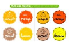 Etiquetas coloridas de las frutas tropicales con el coco, piña, papaya, plátano Historieta que hace publicidad de etiquetas engom stock de ilustración