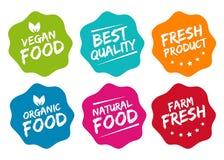 Etiquetas coloridas do alimento de Eco Fotografia de Stock Royalty Free