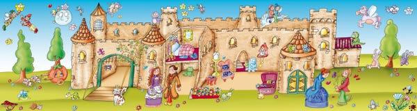 Etiquetas com cenografia, o castelo encantado Imagens de Stock