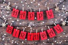 Etiquetas com desejos do feliz aniversario na neve Foto de Stock Royalty Free