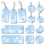 Etiquetas com flocos de neve ilustração royalty free