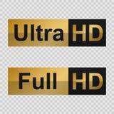 Etiquetas completas de HD e ultra de HD ilustração stock