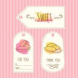 Etiquetas con el ejemplo de la galleta El sistema de etiquetas dibujado mano del vector con la acuarela salpica Macarrones dulces Foto de archivo