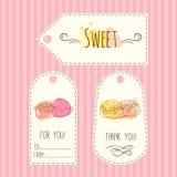 Etiquetas con el ejemplo del caramelo El sistema de etiquetas dibujado mano del vector con la acuarela salpica Diseño dulce de lo Fotografía de archivo