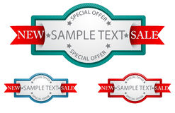 Etiquetas con la muestra de la cinta .commercial Fotografía de archivo libre de regalías