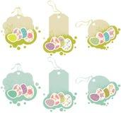 Etiquetas con los huevos de Pascua Imágenes de archivo libres de regalías