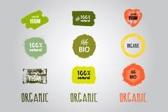 Etiquetas con los temas orgánicos ilustración del vector