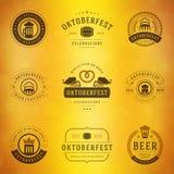 Etiquetas, crachás e logotipos de Oktoberfest do festival da cerveja Foto de Stock