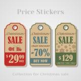 Etiquetas, etiquetas, crachás, etiquetas ou bandeira da venda do Natal para suas vendas ilustração royalty free