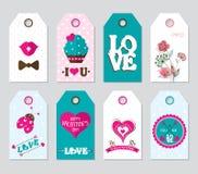 Etiquetas creativas del regalo del ` s de la tarjeta del día de San Valentín Imágenes de archivo libres de regalías
