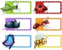 Etiquetas cuadradas y muchos insectos stock de ilustración