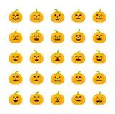 Etiquetas da abóbora de Dia das Bruxas com as emoções diferentes ajustadas Fotografia de Stock Royalty Free