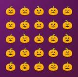 Etiquetas da abóbora de Dia das Bruxas com as emoções diferentes ajustadas Imagens de Stock