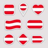 Etiquetas da bandeira de Áustria ajustadas Crachás austríacos dos símbolos nacionais Ícones geométricos isolados O oficial do vet ilustração royalty free