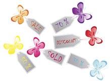 Etiquetas da borboleta Fotos de Stock Royalty Free