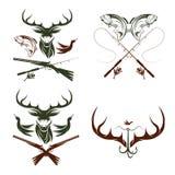 Etiquetas da caça e da pesca do vintage e elementos do projeto Imagens de Stock