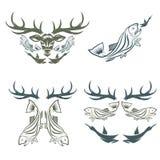etiquetas da caça e da pesca e elementos do projeto Fotografia de Stock