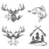 etiquetas da caça e da pesca e elementos do projeto Foto de Stock