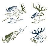 etiquetas da caça e da pesca e elementos do projeto Imagem de Stock Royalty Free