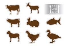 Etiquetas da carne ajustadas Fotos de Stock