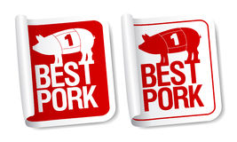 Etiquetas da carne de carne de porco. Fotos de Stock